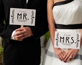 Photo Booth Prop. Wedding Photo Prop. Mr. and Mrs. and Thank You Retro Double Sided Paddle Signs . Fan