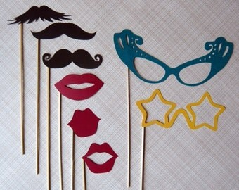 Photo Booth Party on a Stick - Mustashe, Lips and Glass Set