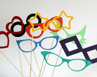 Photobooth  Party Prop Glasses - Set of Eight