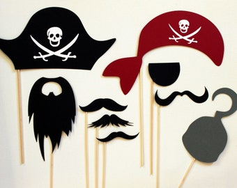 Photobooth Props - Photo Booth Props-  Party Photo Props - Pirate Photo Booth Prop Kit