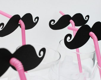 Photo Booth Props (8) EIGHT Mustache and Pink Straw  Photo Props