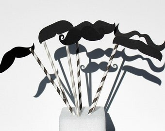 Photo Booth Props. PhotoBooth Props. Phop Props. Paper Straws Mustache on Straw Stick.