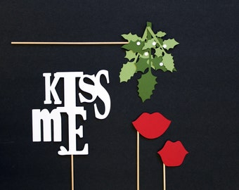Photo Booth Props. Christmas Photobooth Photo Props. Mistletoe. Holiday Party