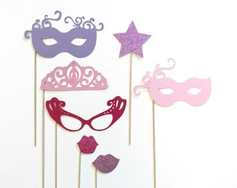 Photo Booth Props. Photobooth Prop  - Glittered Princess Party. Girl Birthday. Princess