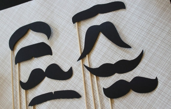 Photo Booth Photo Prop Party Pack - Set of Eight Mustaches on a Stick. Photobooth, Birthday, Parties, Weddings