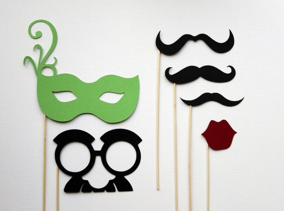 Photobooth Props on a Stick - Mustashe, Lips and Mask Set