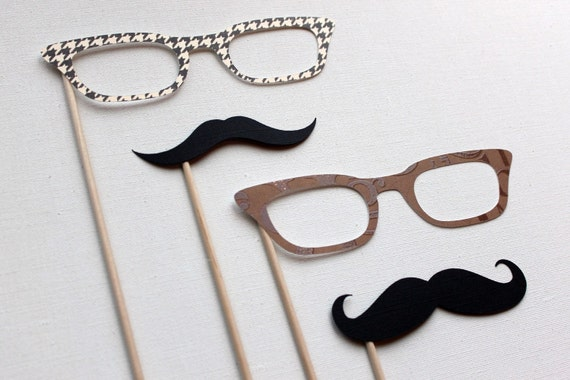 Photo Booth Props. Photobooth Props. Wedding Photo Booth. The Double Date - Photo Booth Props on a Stick
