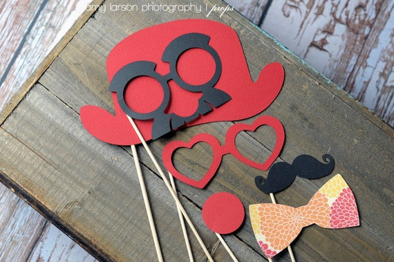 Photo Booth Props. Circus Clown Photobooth Props on a Stick - Red Mango Tango