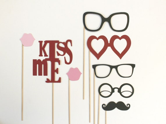 Photo Booth Props. Photobooth Photo Props. Kiss Me. Photo Props