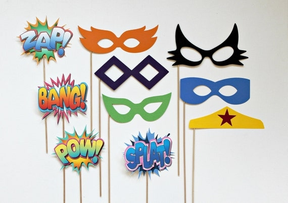 Vintage Super Hero Photo Booth Props. Glasses Props and Shout Out Shout Outs on a Stick