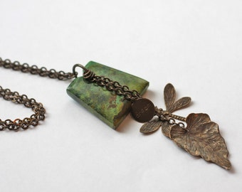 Oxidized Brass, Natural Brass, Vintaj Brass Turquoise Natural Stone Necklace with Dream Charm, Dragonfly and Woodland Leaf
