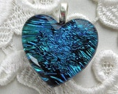 Dichroic Fused Glass Heart Pendant, Blue Heart X8263