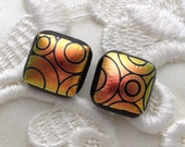 Dichroic Glass Earrings, Post Earrings, Stud Earrings, Fused Glass, Dichroic Earrings, Copper Earrings X1591