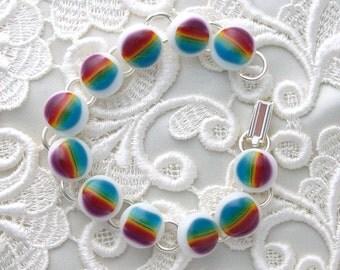 Fused Glass Bracelet, Lampwork Glass Jewelry, Glass Bracelet, Charm Bracelet X2282