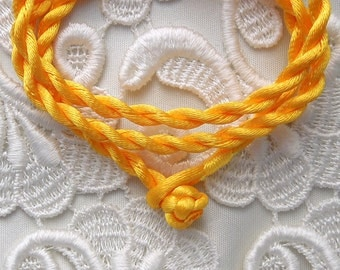 Yellow Silk Cord Necklace For Pendants, Tiles, Cabochons, Jewelry Supply, Pendant Supply