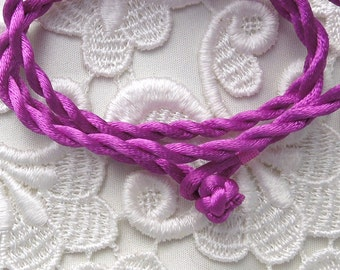 Fushsia Silk Cord Necklace For Pendants, Tiles, Cabochons, Jewelry Supply, Pendant Supply