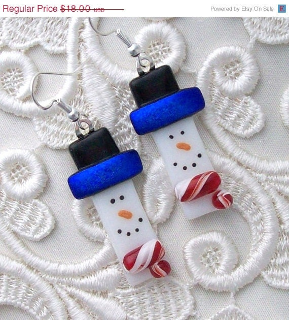 HOLIDAY SALE Snowman, Frosty, Dichroic Fused Glass Earrings, Dichroic Glass Jewelry, Dichroic Earrings, Snowman Earrings, Christmas Earring