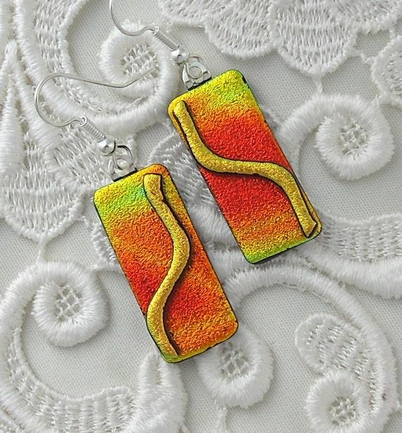 Retro, Dichroic Fused Glass Earrings, Glass Earrings X3847