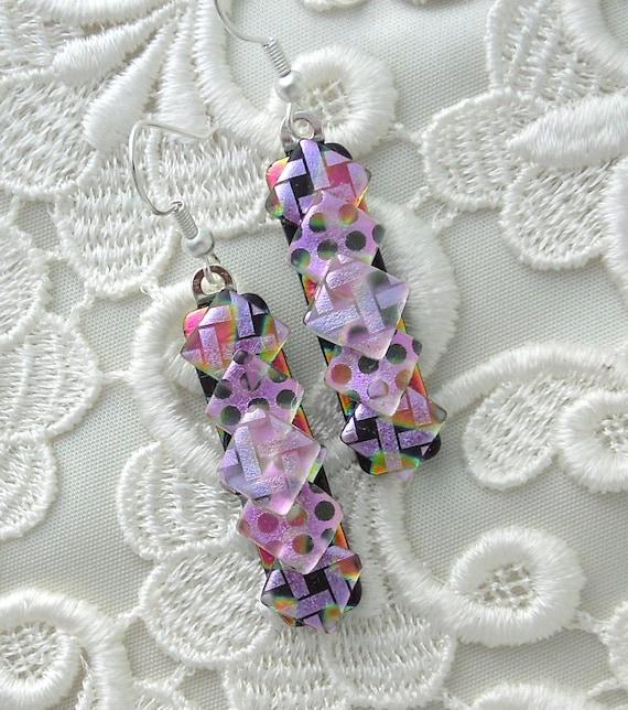 Dichroic Fused Glass Earrings, Dichroic Glass, Glass Jewelry, Bead Earrings, Pink Earrings X2215