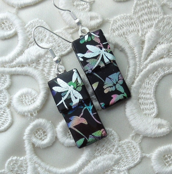 Dichroic Earrings, Glass Earrings, Fused Glass, Dichroic Glass Earrings, Dragonfly Earrings X6910