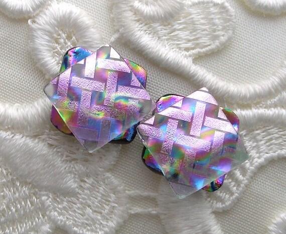 Dichroic Glass, Post Earrings, Glass Earrings, Dichroic, Bead Earrings, Stud Earrings, Pink Earrings X1011