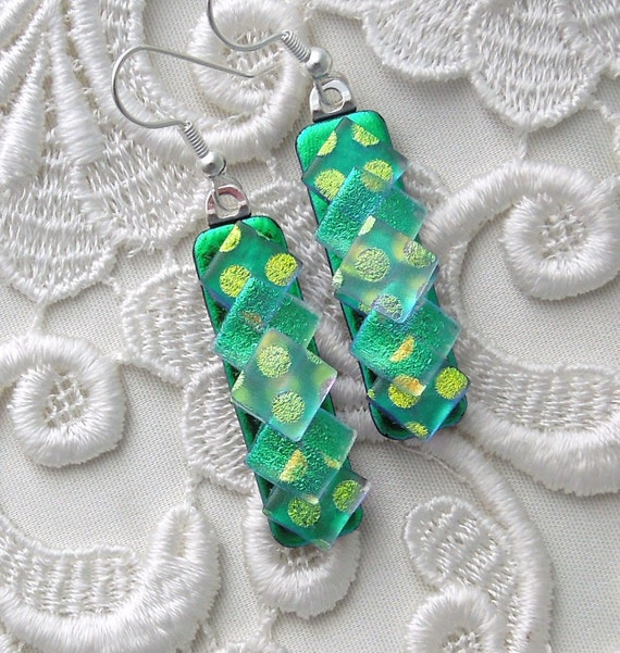 Dichroic Fused Glass Earrings, Dichroic Glass, Glass Jewelry, Bead Earrings, Green Earrings X2855