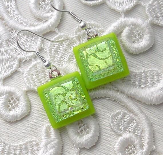 Green Earrings, Dichroic Fused Glass Earrings X6664