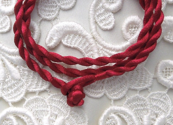 Red Silk Cord Necklace For Pendants, Tiles, Cabochons, Jewelry Supply, Pendant Supply