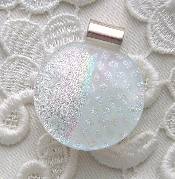 Dichroic Glass Jewelry, Dichroic Pendant, Dichroic Fused Glass Pendant, White Pendant X7119