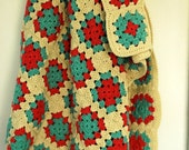 Beautiful Off-White Crocheted Afghan in Squares Style for a Guest Room, Apartment,Dorm or Cottage