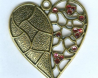 Antiqued Gold Plated Heart Pendant with Swarovski Crystals
