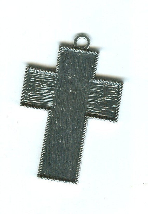 3 Cross Pendant Blank Trays Silver Plated
