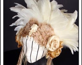 Skully.... Feather Headband in Creams and White with Skull