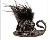 Putin on The Ritz 3..... Asymmetrical Mini Top Hat in Black Sequins with Black Feathers