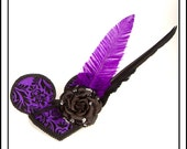 Purplexing Mouse.. Mouse Ear Fascinator, Purple with Rose