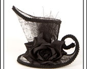 Anatomical Nightmare... Asymmetrical Mini Top Hat in Black and White Anatomy Fabric