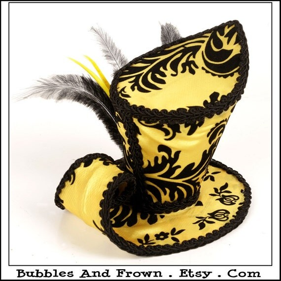Yellow Snow... A-Symmetrical Mini Top Hat in Yellow and Black Damask with Feathers and Flowers