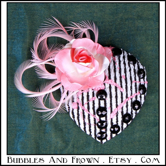Pink Lips.... Fascinator in BxW Stripes with Cotton Candy Pink Embellishments