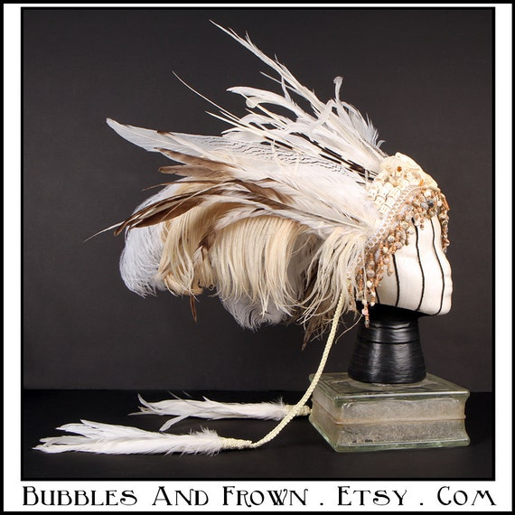 Death Do Us Part.... Skull and Feather Tribal Headdress in Creams