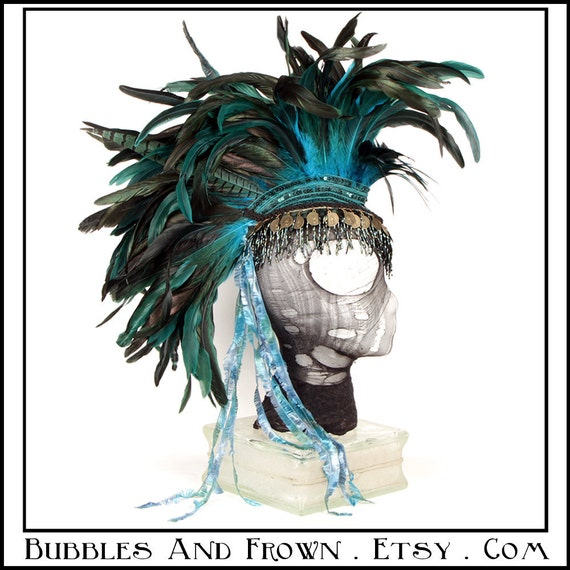 Castaway... Feather Mohawk in Teal with Gypsy Coins