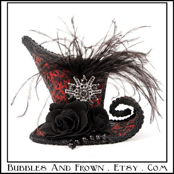SALE Full Moon.... Asymmetrical Mini Top Hat in Red and Black