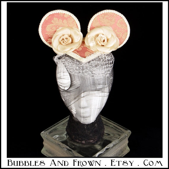 Flushed Cheeks... Minnie Mouse Ears in Pink Brocade with Cream Veil