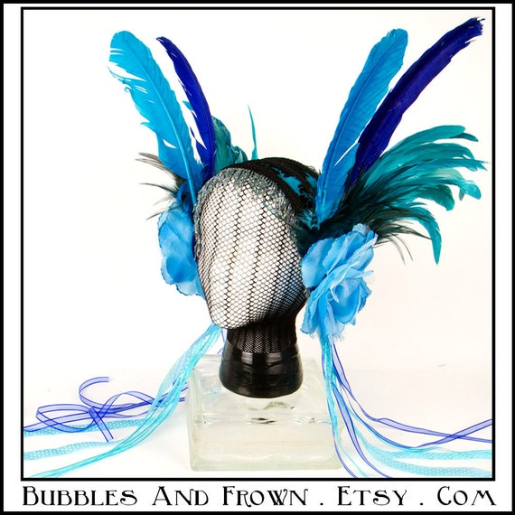 Twilight Rose.... Feather Headband with Blue Roses and Feathers