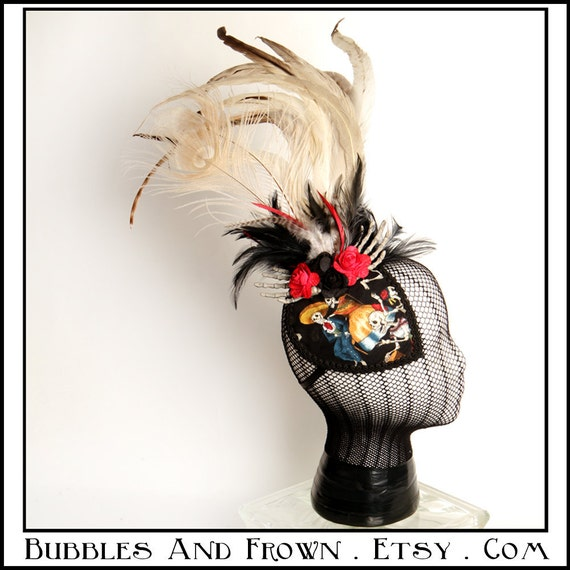 SALE Dos Compadres... Fascinator, Day of the Dead Theme with Huge Feathers