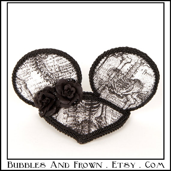 SkeletonMouse...Minnie Mouse Ears in Black and White Anatomy Fabric