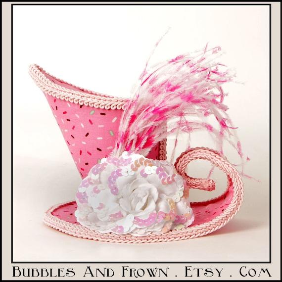 Sprinkled.... Asymmetrical Mini Top Hat in Pink Sprinkle Fabric