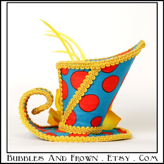 SpotTerrific...Asymmetrical Mini Top Hat Bright Blue, Red and Yellow