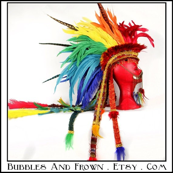 RESERVED MARILYN Sumptuous Rainbow... Rainbow Feather Mohawk with Gypsy Veil
