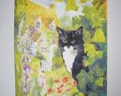Tuxedo Cat in English Cottage Garden Fabric Panel Destash