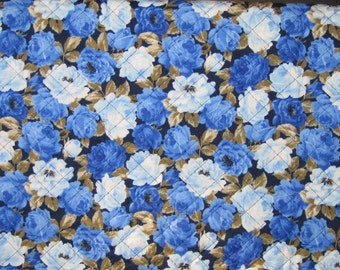 Pre Quilted Fabric Half Meter Cut Blue Roses Design